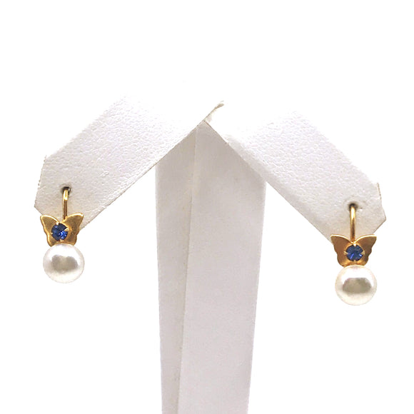 Surgical Steel Butterfly Pearl Earrings