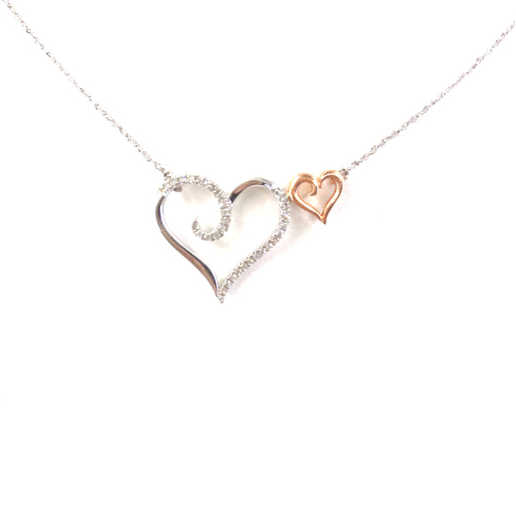 White Gold Double Heart Necklace
