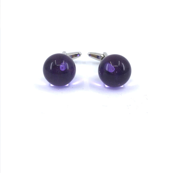 Stainless Steel Purple Ball Cufflinks