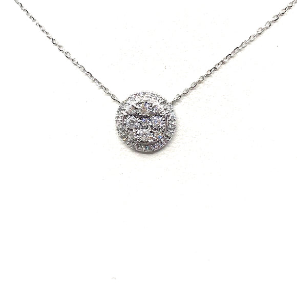 18K White Gold Circle Necklace