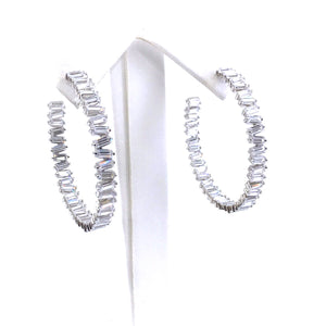 Sterling Silver Baguette Hoop Earrings