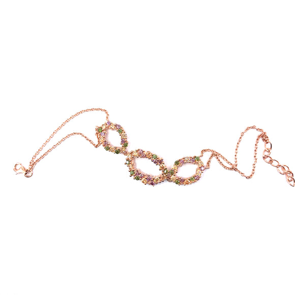 Sterling Silver Rose Gold Plated Multicolor Bracelet