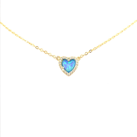 Sterling Silver Small Blue Heart Necklace
