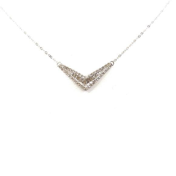 White Gold V-Shaped Necklace