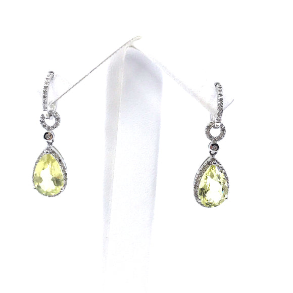 Sterling Silver Diamond Teardrop Earrings