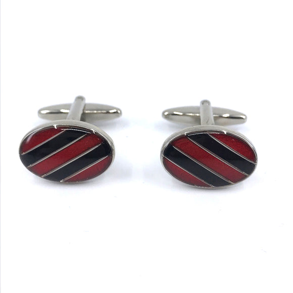 Stainless Steel Red and Black Striped Cufflinks