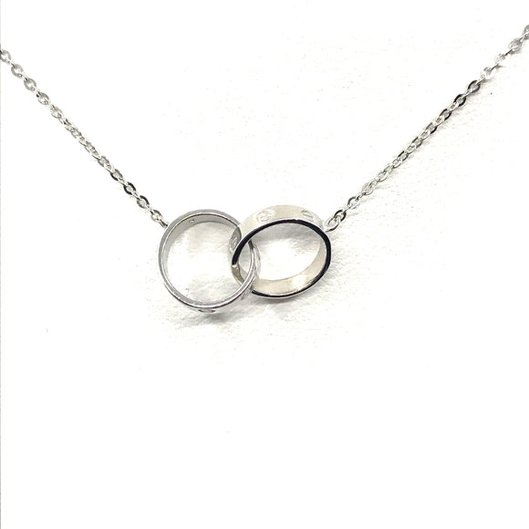 14K White Gold Linked Necklace