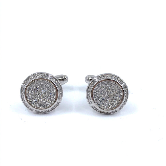 Sterling Silver Round Micropave Cufflinks