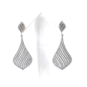 Sterling Silver Flame Earrings with Diagonal Lines