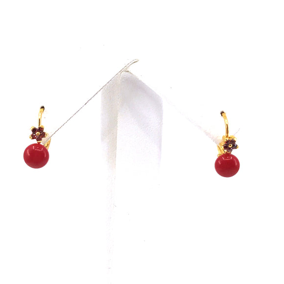 Surgical Steel Red Ball Earrings