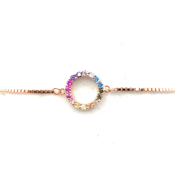 Sterling Silver Rainbow Circle Bracelet