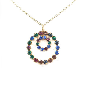 Sterling Silver Multicolor Circle Necklace