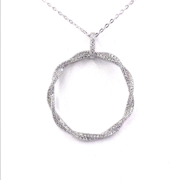 Sterling Silver Twisted Circle Pendant