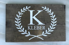 Load image into Gallery viewer, 12x16 inch wood sign family name and initial with laurels