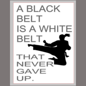 12x16 inch wood sign A black belt is a white belt that never gave up.