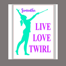 Load image into Gallery viewer, 12x16 inch wood sign Live Love Twirl personalized