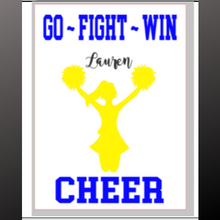 Load image into Gallery viewer, 12x16 Inch Wood Sign Go Fight Win Cheer personalized