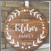 Load image into Gallery viewer, 18 inch round sign kit and stencil - family name with laurels
