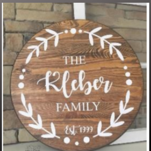 18 inch round sign kit and stencil - family name with laurels