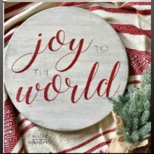 Load image into Gallery viewer, 18 inch round sign kit and stencil - joy to the world
