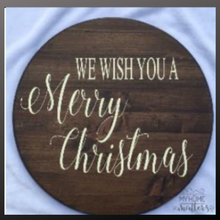 Load image into Gallery viewer, 18 inch round sign kit and stencil - we wish you a merry christmas