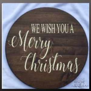 18 inch round sign kit and stencil - we wish you a merry christmas
