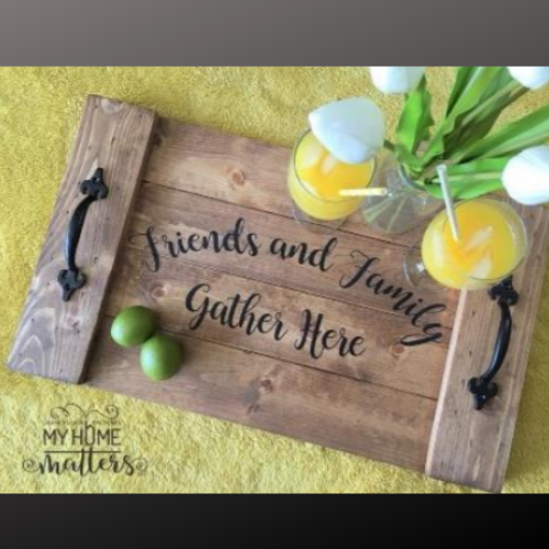 14x24 planked tray - friends and family gather here