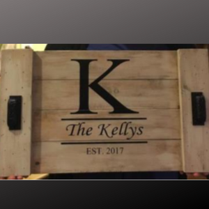 14x24 planked tray with family name and established date