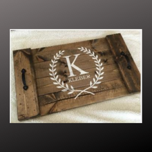 Load image into Gallery viewer, 14x24 planked tray with family name and laurels