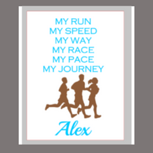 Load image into Gallery viewer, 12x16 wood sign My Run, My Speed personalized