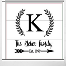 Load image into Gallery viewer, 12x12 inch wood sign family name, initial and established date