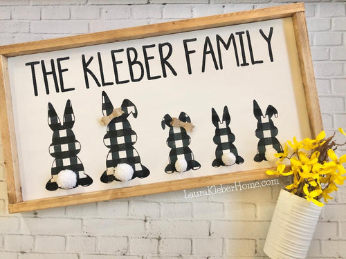 Family Bunnies Easter 12x24 Sign Kit