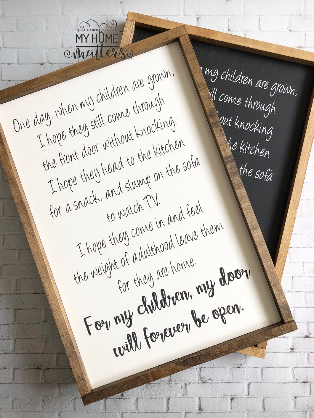 For my Children my Door will Forever be Open Sign | Framed Sign | Custom Sign | Farmhouse Sign | Wooden Sign | Rustic Sign