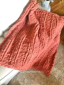 Chunky Blanket - Light Rust/Corral