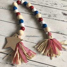 Load image into Gallery viewer, Patriotic beads with star and two tassels