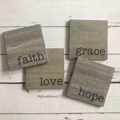 Gray Hope Love Faith Grace Coasters