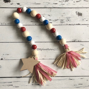 Patriotic beads with star and two tassels
