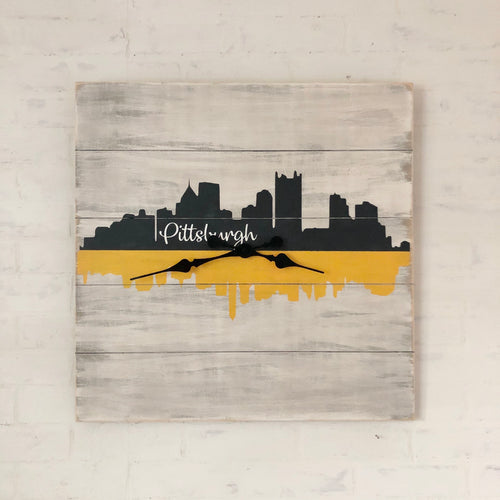 Clock - Farmhouse Style Square Pittsburgh (24-inches)