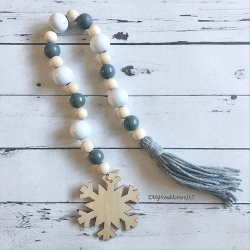 Wooden Bead Garland - Neutrals with Snowflake