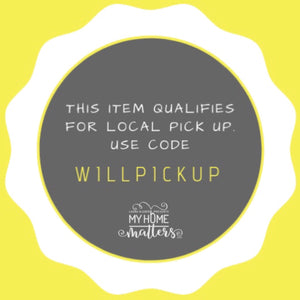 An image that states this item qualifies for local pick up. Use code WILLPICKUP with site's logo on the bottom.