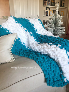 Chunky Blanket - Teal and White Kids's Size
