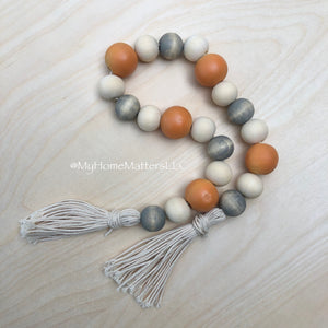 Fall Beads- Gray/Orange/Natural
