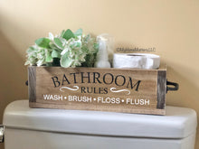 Load image into Gallery viewer, Wood Box with Handles - Bathroom Rules