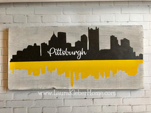 12x24 inch of Pittsburgh Skyline