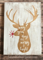 12x16 inch wood sign May your days be merry and bright with reindeer.