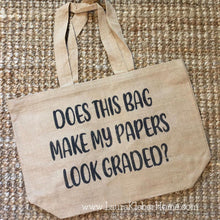Load image into Gallery viewer, Burlap Tote Bag - Teachers Theme