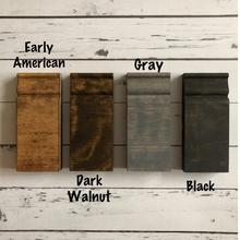Early American, Dark Walnut, Gray and Black stain wood samples