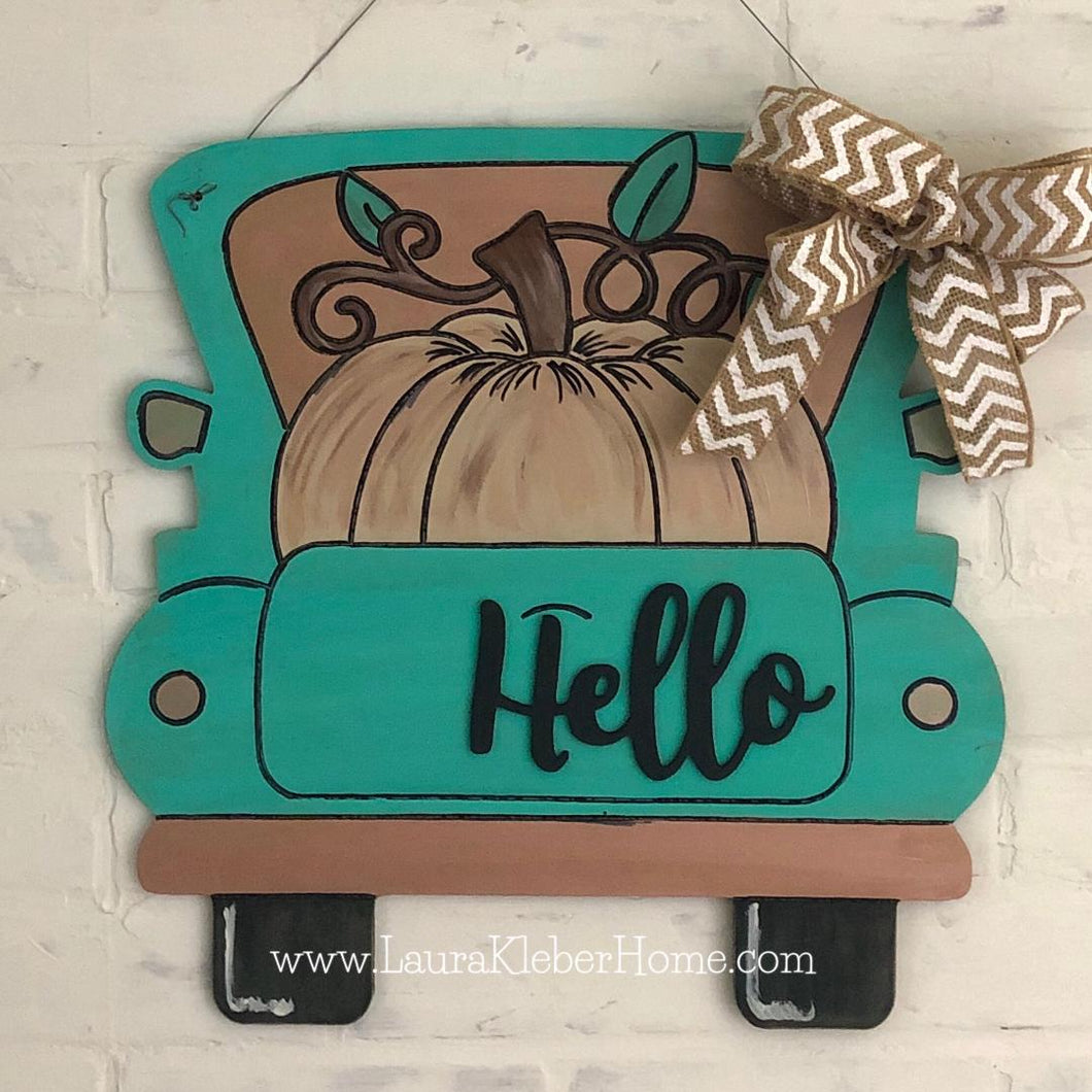 Hello Pumpkin Fall Truck Door Hanger