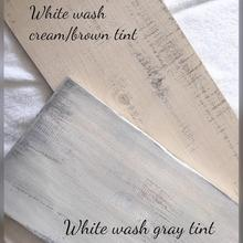 Load image into Gallery viewer, white washed cream brown tint and white washed gray tint wood samples