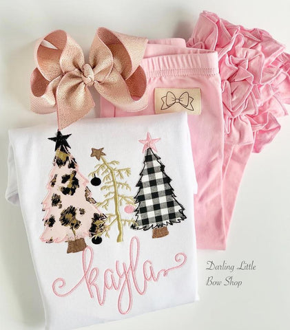 Christmas Tree shirt or bodysuit for girls - O Christmas Tree pink, black and gold - Darling Little Bow Shop